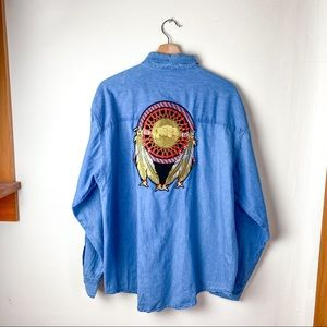Vintage Western Embroidered Button Down Shirt